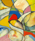 An abstract painting. A modernist abstract painting constructed entirely from curves Stock Photos