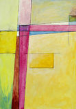 An abstract painting. A modernist abstract painting; yellow and purple Royalty Free Stock Image