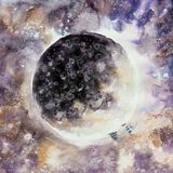 Abstract painting of moon phase. Royalty Free Stock Image