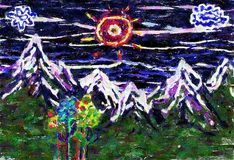 Childs mountain landscape with flowers. Abstract painting, mountain landscape with flowers Stock Photos