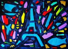 Abstract painting named Come back to Paris. Abstract painting named Come back to Paris stock illustration