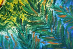 Abstract painting by oil on canvas. Green exotic leaves stock images