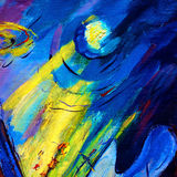 Abstract painting by oil on canvas on a space theme, illustratio Royalty Free Stock Photo