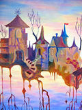 Abstract painting of old city with sunset. Royalty Free Stock Images