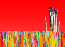 Abstract painting with paint brushes Royalty Free Stock Photography
