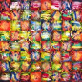 Abstract Painting Patchwork. Patchwork background made of different hand made paintings Stock Photo