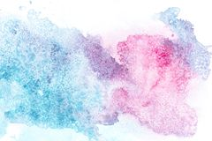Abstract painting with pink and blue paint spots. On white royalty free illustration
