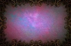Purple art strokes. Abstract painting. Purple brush strokes in curly frame royalty free stock images