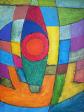 An abstract painting, shield shape. An abstract painting; bright, solid colors with a shield shape Stock Photo