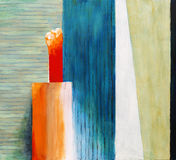 An abstract painting - Slats. A modernist abstract painting with a suggestion of a slatted wall background Stock Image