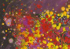 Abstract painting space and roses stock images