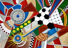 Abstract Painting of sport types soccer, tennis. Stock Image