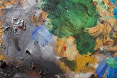 Abstract painting Texture. Close up of painting palette, texture of dry oil painting stock photo