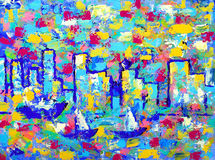 Abstract painting with towers of Vancouver. Stock Photo
