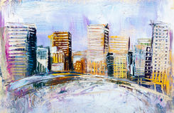 Abstract painting of urban skyscrapers. Stock Images