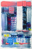 Abstract painting of urban skyscrapers. Royalty Free Stock Photos