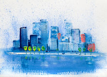 Abstract painting of urban skyscrapers. royalty free stock photo