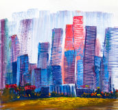 Abstract painting of urban skyscrapers. royalty free stock photography
