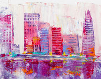 Abstract painting of urban skyscrapers. stock photos