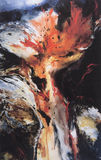 Abstract painting of volcanic eruption stock image