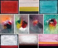 Abstract paintings set. Artistic work. Watercolors on paper Royalty Free Stock Photos