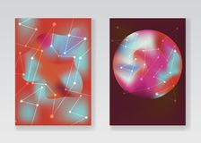 Abstract pale red cosmic backgrounds. With gradient planets, stardust and white connected stars or network for fashion flyer, brochure design. Creative posters Stock Image