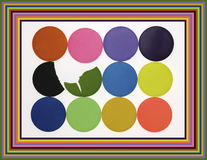 Abstract palette of colours. An abstract palette of painting colors with two broken disks Royalty Free Illustration