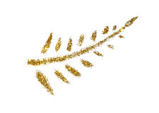 Abstract Palm branch of golden glitter sparkle on white background Stock Photo