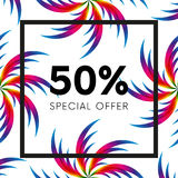 Abstract palm leafs with spectrum gradient. Fifty percent off. Special offer. Summer sale banner. Black frame. Vector illustration. Abstract palm leafs with Stock Photography