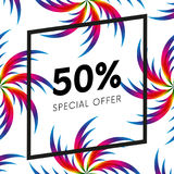 Abstract palm leafs with spectrum gradient. Fifty percent off. Special offer. Summer sale banner. Black frame. Vector illustration. Abstract palm leafs with Royalty Free Stock Photography