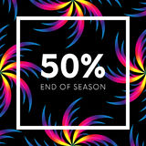Abstract palm leafs with spectrum gradient. Fifty percent off. Special offer. Summer sale banner. End of season. Black frame. Dark. Style. Vector Royalty Free Stock Photography