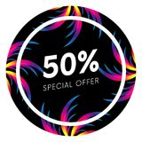 Abstract palm leafs with spectrum gradient. Sticker. Fifty percent off. Special offer. Summer sale banner. Black frame. Dark style.  Royalty Free Stock Photos