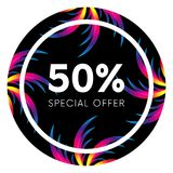 Abstract palm leafs with spectrum gradient. Sticker. Fifty percent off. Special offer. Summer sale banner. Black frame. Dark style.  Stock Image