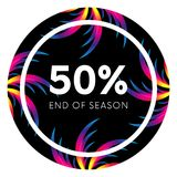 Abstract palm leafs with spectrum gradient. Sticker. Fifty percent off. Special offer. Summer sale banner. End of season. Black fr. Ame. Dark style Stock Photo
