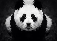 Abstract Panda dark while low poly wallpaper Stock Photography