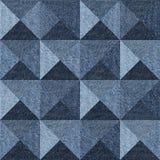 Abstract paneling pattern - seamless pattern - pyramidal pattern. Blue denim jeans Stock Photos