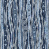Abstract paneling pattern - Stars seamless pattern - blue jeans Royalty Free Stock Photography