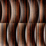 Abstract paneling pattern - waves decoration - Ebony wood Stock Photo