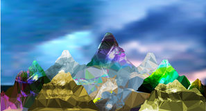 Abstract panoramic mountain polygonal landscape with sky and clouds. Blue, brown, green, pink, yellow, purple and gray mountains peaks of crystals and polygons Stock Photography