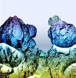 Abstract panoramic mountain winter landscape with cracked rocks and canyon. Blue, white and yellow mountain landscape with trail and falling stones stock illustration