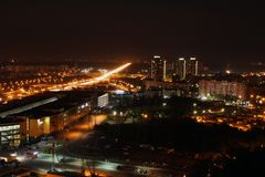 An abstract panoramic view of the city at night royalty free stock photo