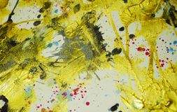 Abstract painting wax gold dark colors, brush strokes, organic hypnotic background stock image