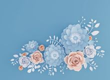 Abstract Paper art Flower isolated on Blue background. Abstract Paper art Flower isolated on Blue background, 3d illustration stock illustration
