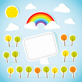 Abstract paper banner with forest and rainbow Stock Image