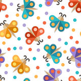 Abstract paper butterfly, seamless pattern. Vector colorful back. Ground Stock Image