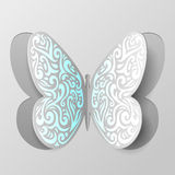 Abstract paper butterfly with tribal ornament Stock Photo