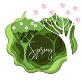 Abstract paper carve spring background. Royalty Free Stock Photos