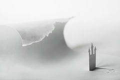 Abstract paper castle and big ocean wave Royalty Free Stock Images
