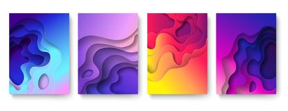 Abstract paper cut background. Cutout fluid shapes, color gradient layers. Cutting papers art. Purple carving 3d vector vector illustration