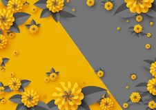 Abstract paper cut flowers. Abstract paper cut flowers, paper craft yellow and grey background. Vector illustration Stock Photography